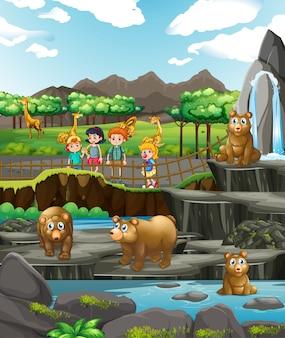 Cena com animais e crianças felizes no zoológico