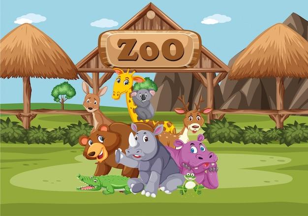 Cena com animais selvagens no zoológico durante o dia