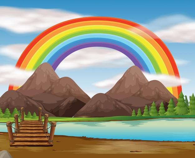 Cena, com, arco íris, sobre, a, rio