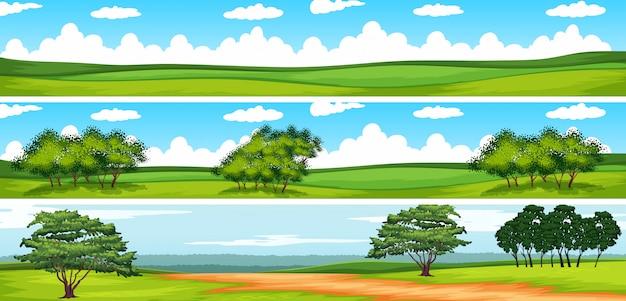 Cena, com, árvores, em, a, campo