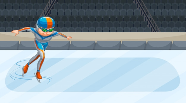Cena com atletas fazendo patinação no gelo na arena Vetor grátis