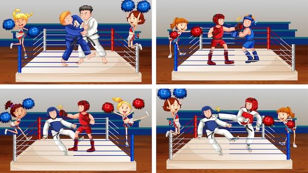 Cena com atletas lutando no ringue