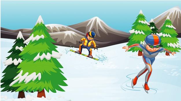 Cena com atletas praticando esportes de inverno no campo
