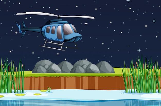 Cena com avião voando no céu à noite