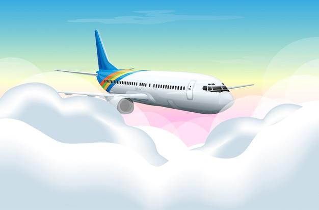 Cena com avião voando no céu