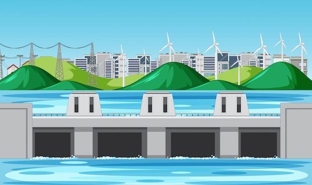 Cena com barragem de água e turbinas eólicas nas colinas