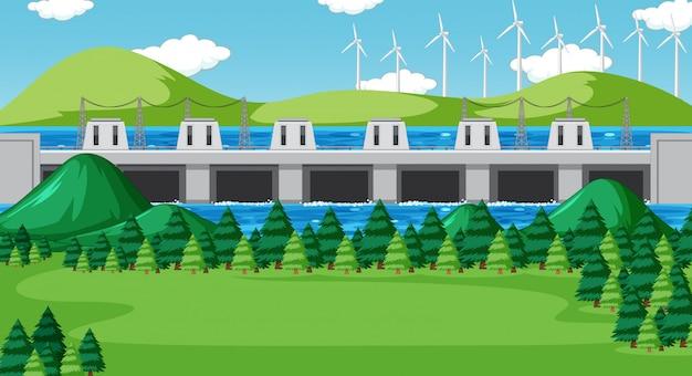 Cena com barragem e turbinas eólicas nas colinas