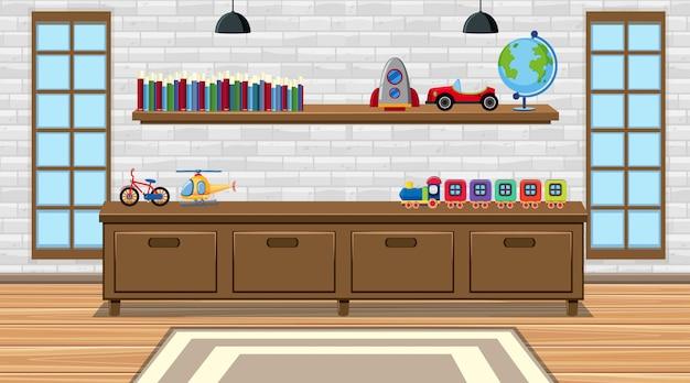 Cena com brinquedos e móveis no quarto
