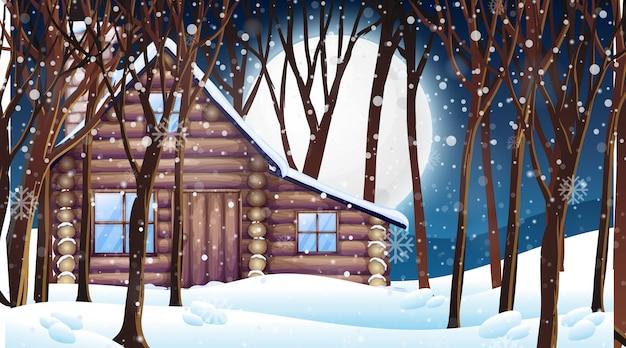 Cena com cabana de madeira no inverno de neve