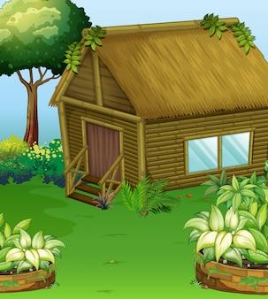 Cena com cabine de madeira no jardim