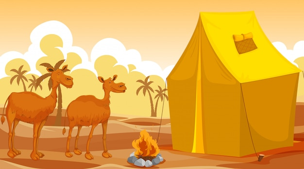 Cena com camelos e grande barraca no deserto