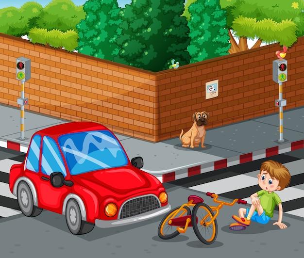 Cena com carro batendo bicicleta e menino se machucando