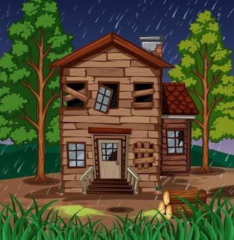 Cena com casa de madeira com janelas quebradas