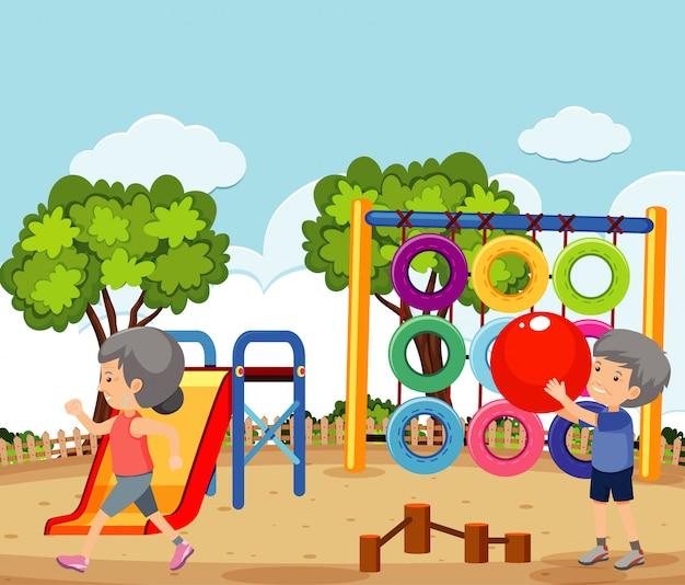Cena com casal de velhos exercitando no parque