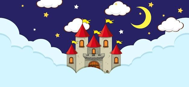 Cena com castelo de fantasia na nuvem à noite