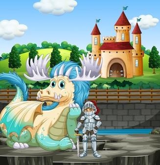 Cena com cavaleiro e dragão no castelo