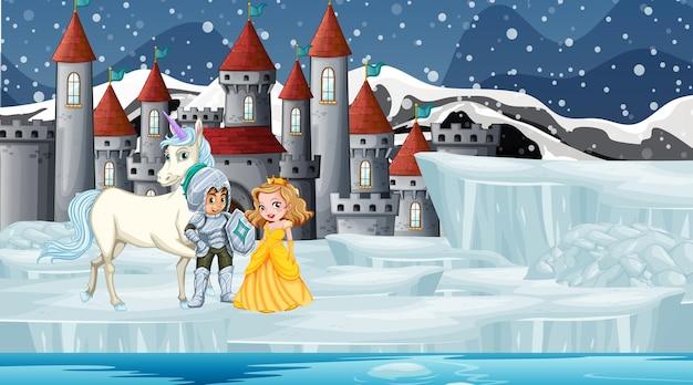 Cena com cavaleiro e princesa no castelo