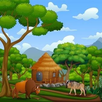 Cena com chalé de madeira com animais