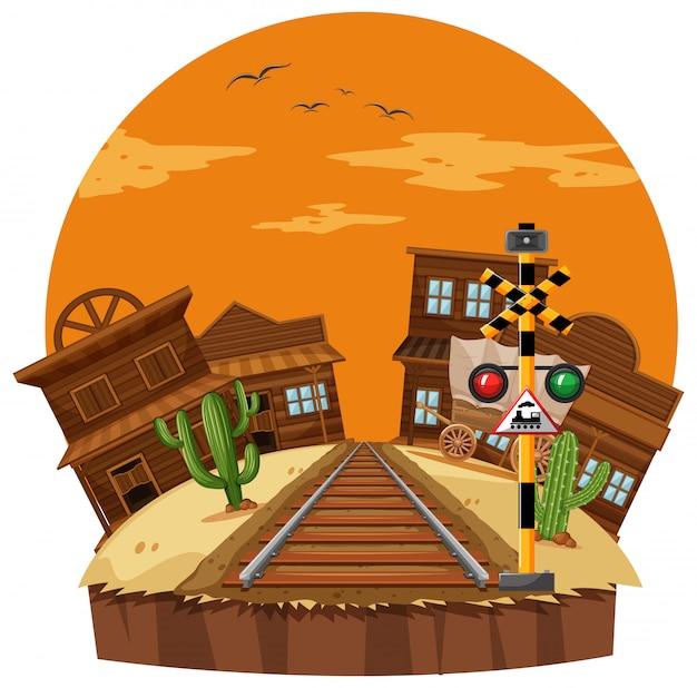 Cena, com, cidade vaqueiro, e, ferrovia