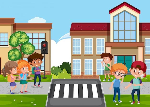 Cena com criança bullying seu amigo na rua