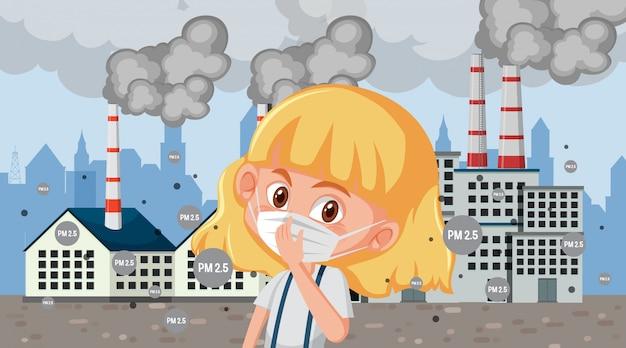 Cena com criança doente com máscara na frente de edifícios da fábrica