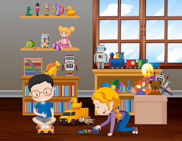 Cena com crianças brincando no quarto