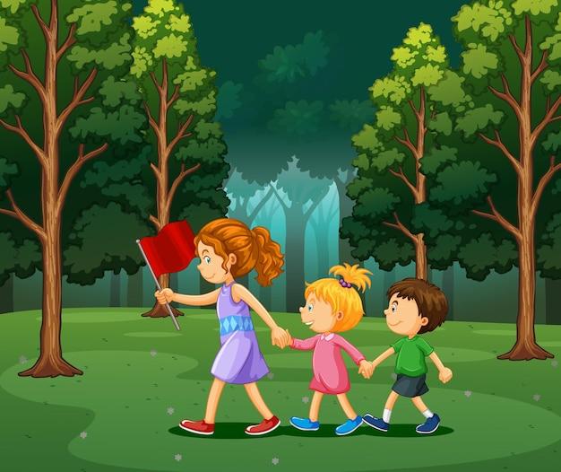 Cena com crianças caminhando na floresta