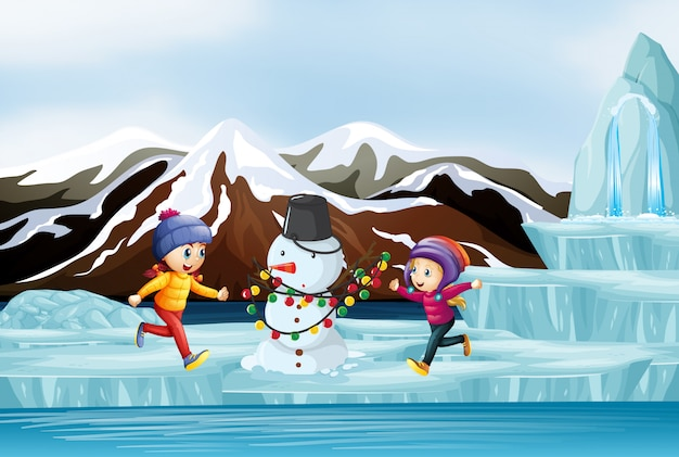 Cena com crianças e boneco de neve