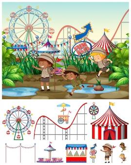 Cena, com, crianças, em, a, carnaval