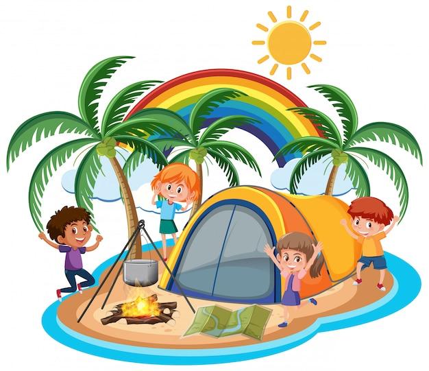 Cena com crianças felizes acampadas na ilha