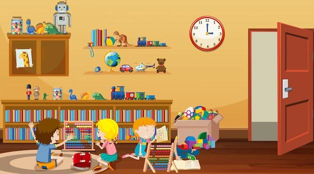 Cena com crianças lendo e brincando na sala