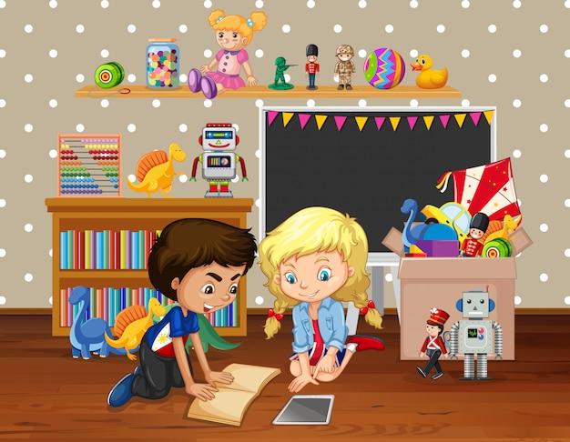 Cena com crianças lendo livro no quarto