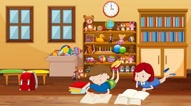 Cena com crianças lendo no quarto