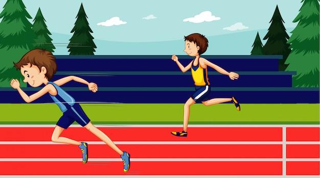 Cena com dois corredores correndo na pista