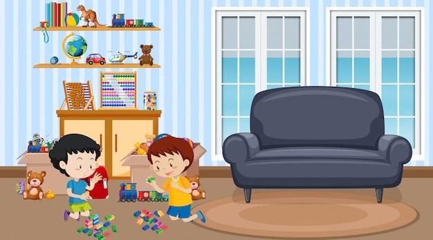 Cena com dois meninos brincando na sala de estar