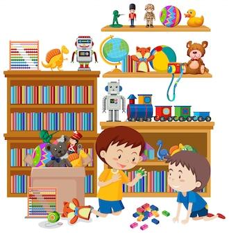 Cena com dois meninos jogando brinquedos no quarto