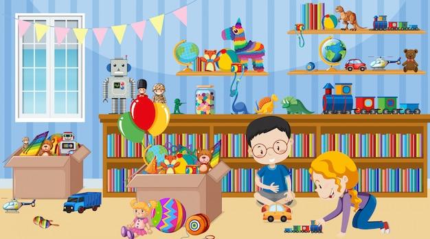Cena com duas crianças brincando brinquedos no quarto