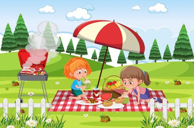 Cena com duas meninas comendo no parque