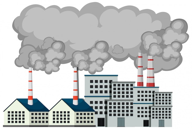 Cena com edifícios da fábrica e fumaça saindo