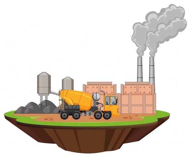 Cena com edifícios da fábrica e misturador de cimento