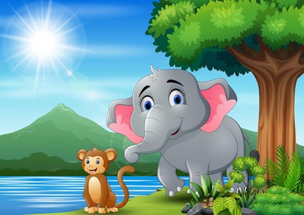 Cena com elefante e macaco se divertindo na natureza
