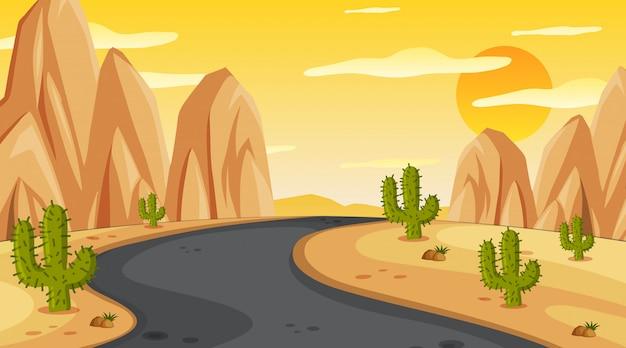 Cena com estrada vazia ao pôr do sol