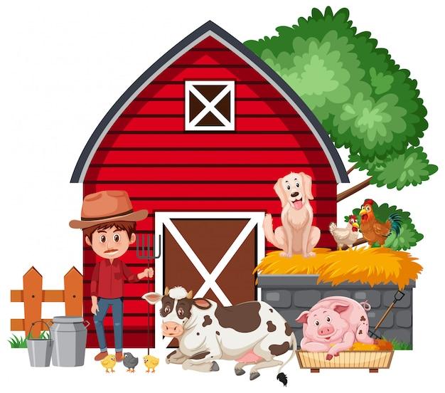 Cena com fazendeiro e animais de fazenda pelo celeiro vermelho
