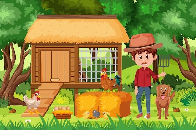 Cena com fazendeiro e galinhas na fazenda