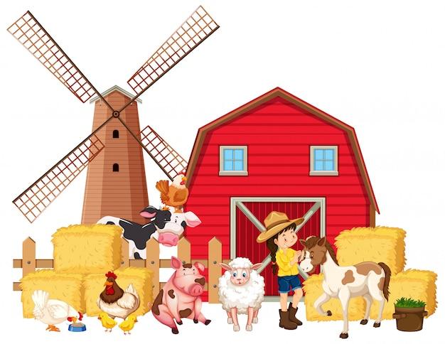 Cena com fazendeiro e muitos animais de fazenda