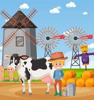 Cena com fazendeiro e vaca na fazenda