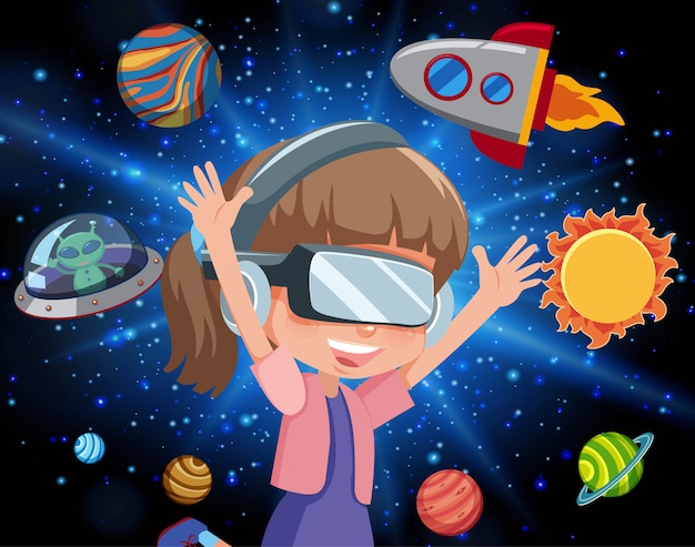 Cena com garota feliz e nave espacial voando na galáxia