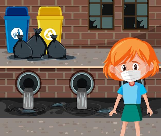 Cena com garota vestindo máscara na frente da água suja