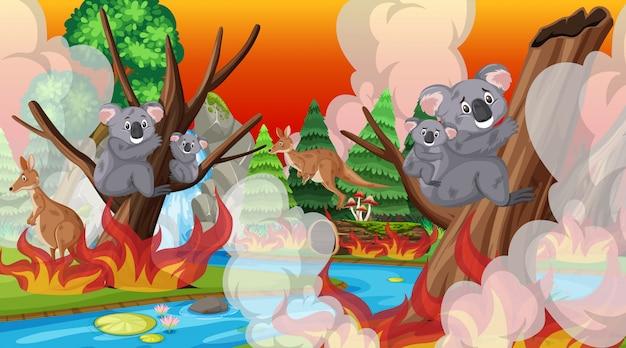 Cena com grande incêndio com animais presos na floresta
