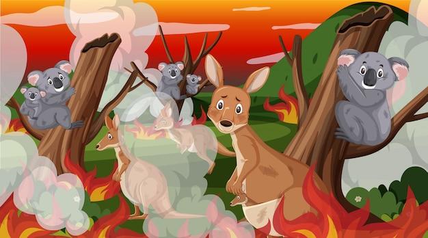 Cena com grande incêndio com animal preso na floresta